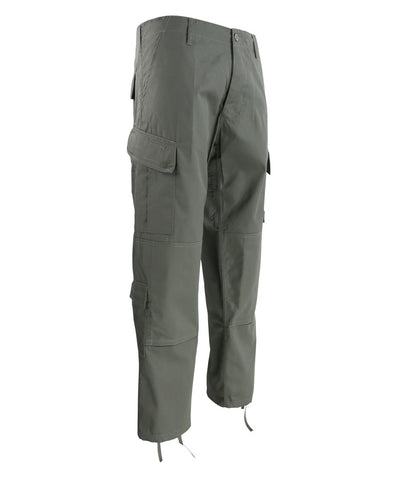 Assault Trouser ACU Style-gunmetal grey with slanted thigh pockets and button fly