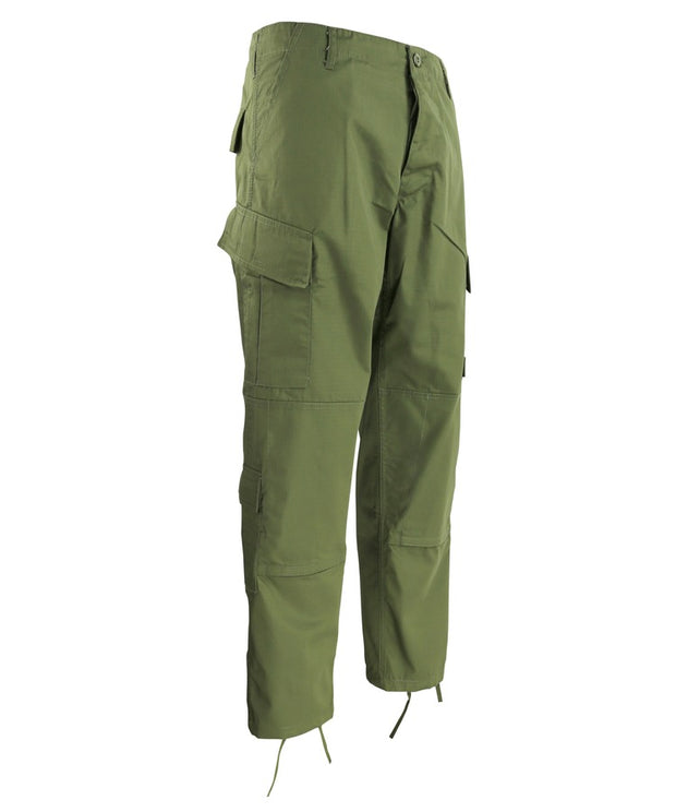 Assault Trouser ACU Style-olive green with slanted thigh pockets and button fly