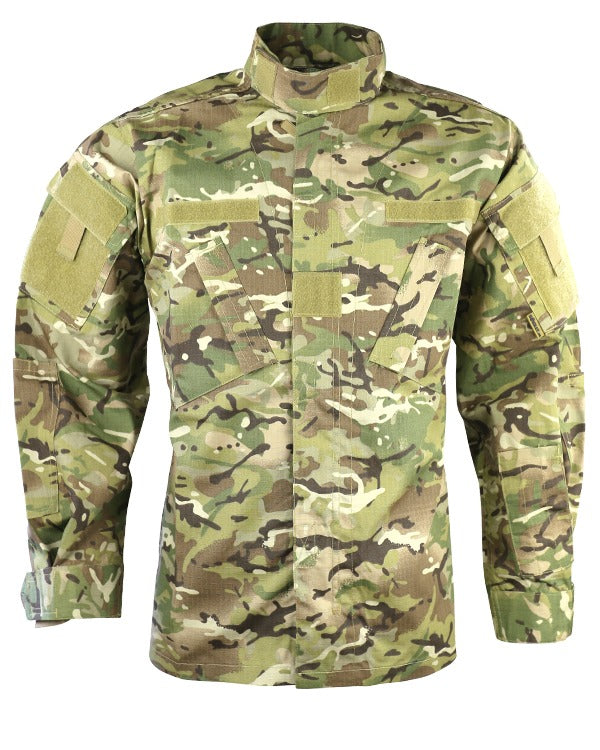 btp acu shirt. rip stop camo shirt with zip and velcro front fastening,short collar and velcro id panels on arms.