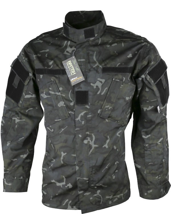 btp black acu ripstop shirt/jacket.black camo ripstop shirt with high collar and velcro ID panels on side. Slanted chest pockets