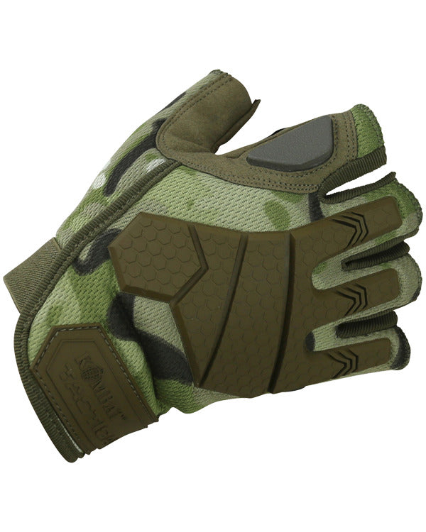 fingerless tactical gloves.top. btp camo fingerless glove with rubber protection on back of hand and rubber jointed knuckles
