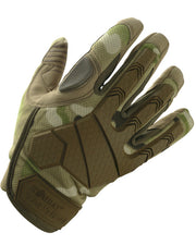 alpha tactical full finger gloves.top. british camo protective glove with brown rubber hand protection and flexible knuckle joints