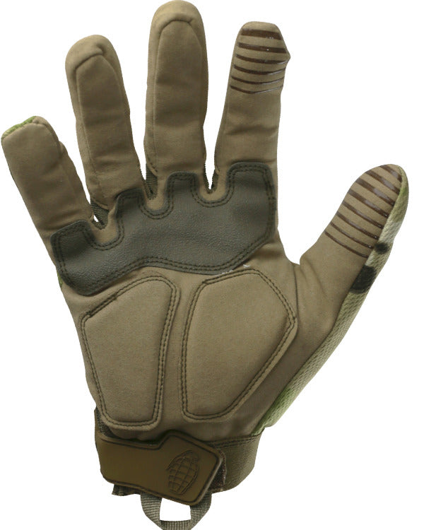palm outstretched showing padded micro fibre palm, index finger grip and thumb grip
