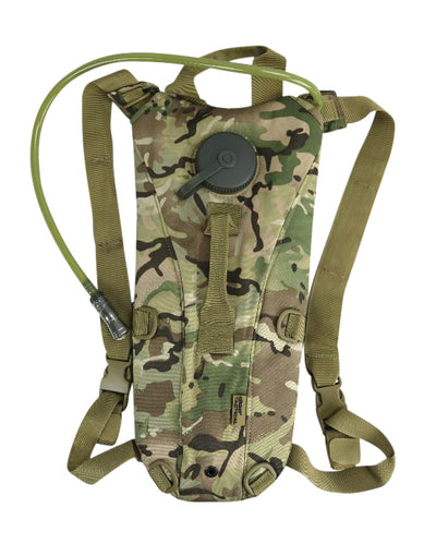 british camo water pouch/backpack with aqua bladder and drinking hose