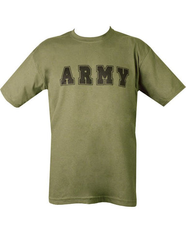army tshirt.green t-shirt with black print. says the word ARMY across chest