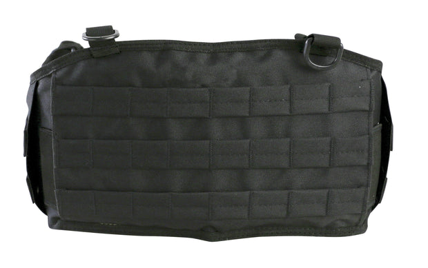 Battle Belt-Black- showing front molle platform and d-rings to attach battle yoke