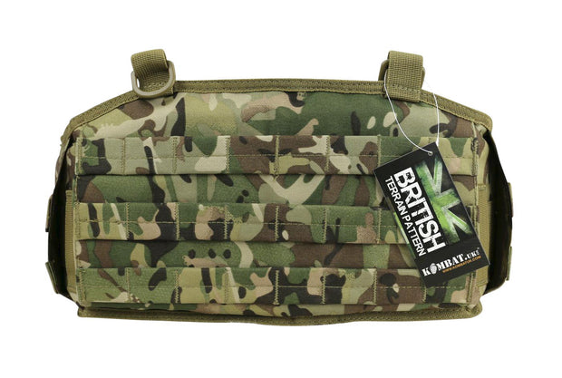 Battle Belt-British camo- showing front molle platform and d-rings to attach battle yoke