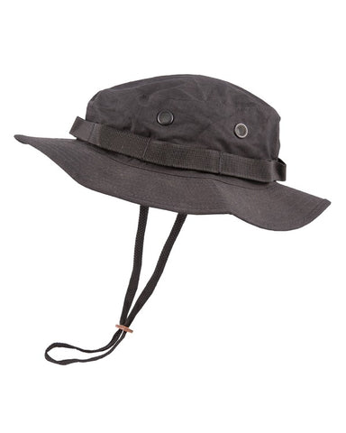 Boonie hat- Black. vented bush hat bucket hat with neck strap 1cc6ab9d4307