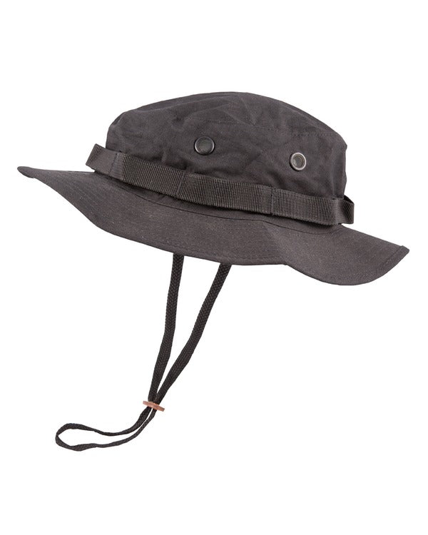Boonie hat- Black. vented bush hat/bucket hat with neck strap