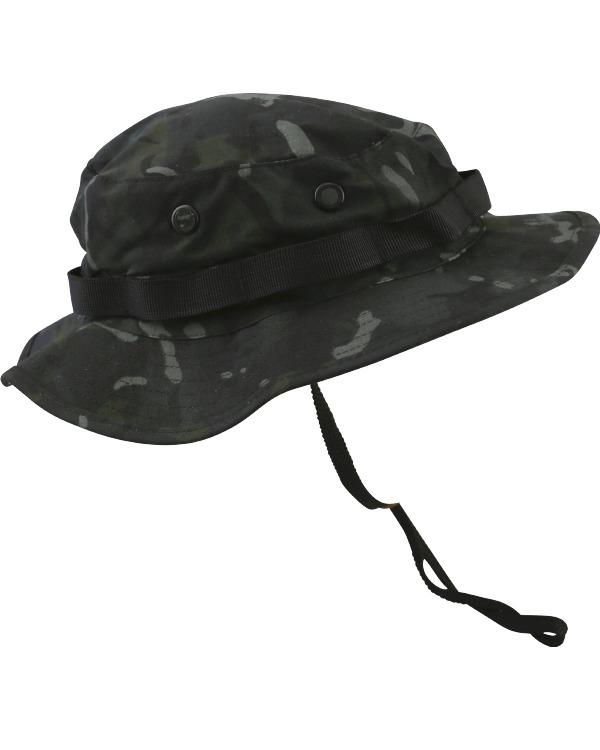 Boonie hat- btp black camo. vented bush hat/bucket hat with neck strap