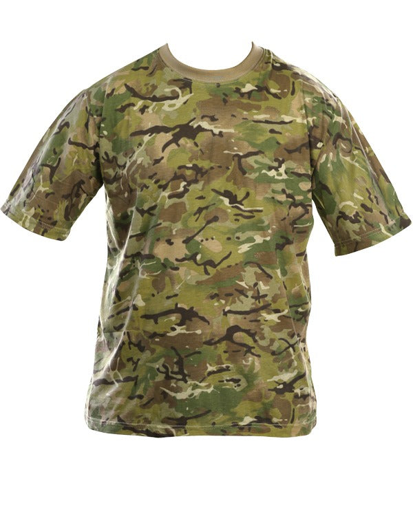 british btp camo t-shirt. horizintal dispersal pattern. light green,dark green,dark brown mid brown,light brown