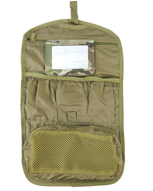 Cadet wash bag. open showing compartments and mirror