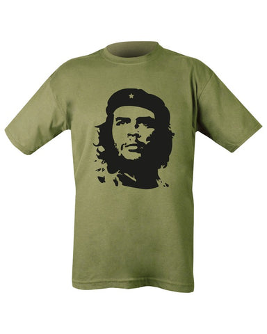olive t-t-shirt with black print. front. image of che guevara
