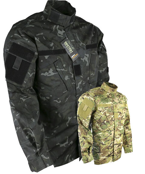 acu airsoft tactical shirt with diagonal velcro fastening pockets and velcro patches on sleeve to attach tactical patches patches