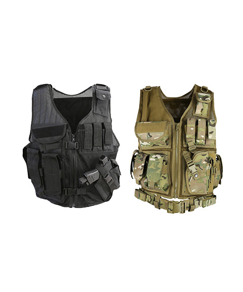 Cross Draw Tactical Vest-Black  Airsoft Kombat UK - The Back Alley Army Store