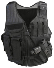 Cross Draw Tactical Vest-BTP Black Airsoft Kombat UK - The Back Alley Army Store