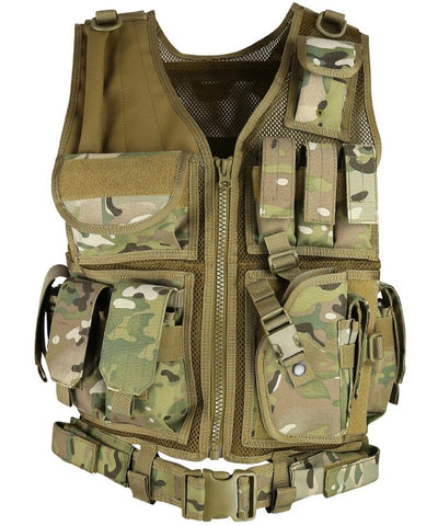 Cross Draw Tactical Vest BTP camo built in pistol magazine pouches and removable holster