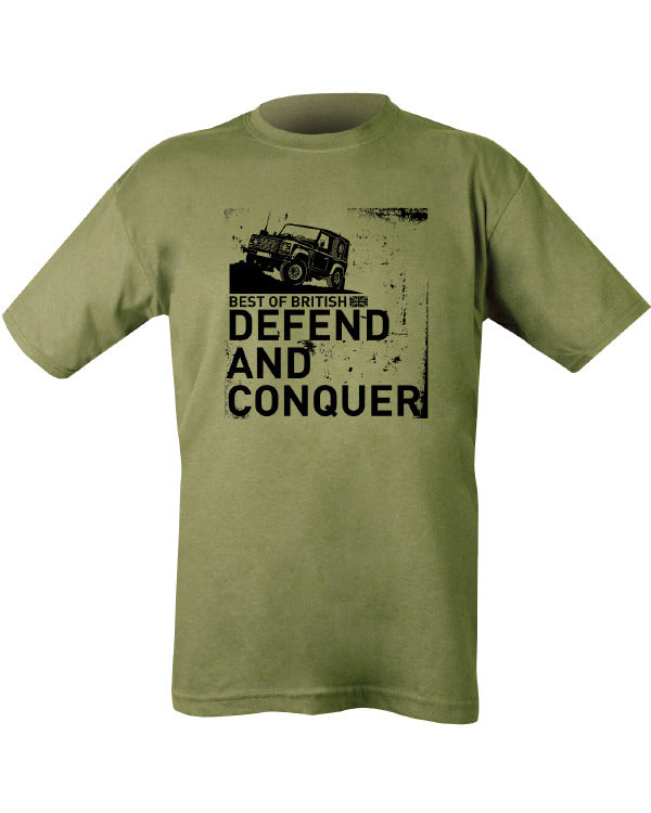 "green t-shirt with black text. image of land rover on rough terrain. text underneath."" best of British..DEFEND AND CONQUER."""