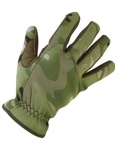 top. british camo pattern glove with reinforced suede/leather between thumb and index finger.Tightened elastic around the wrist area