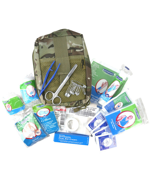 Deluxe first aid kit-BTP camo pouch full first aid contents