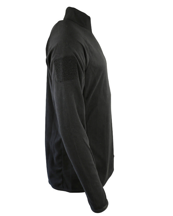 side. black thermal longsleeved top with velcro ID panel on arms