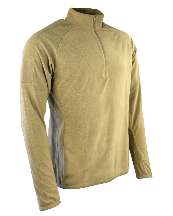 alpha mid layer/base layer fleece.coyote brown thermal long sleeve top with neck zip