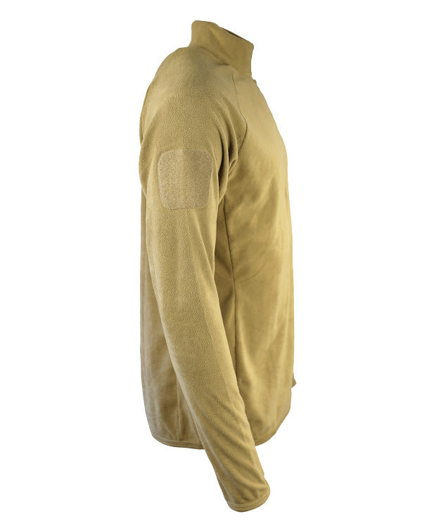 alpha mid layer/base layer fleece.side. coyote brown thermal longsleeved top with velcro ID panel on arms