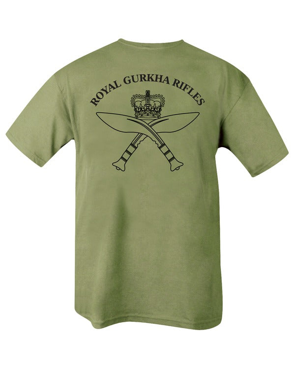 olive t-shirt with back print. royal gurkha rifles insignia in centre