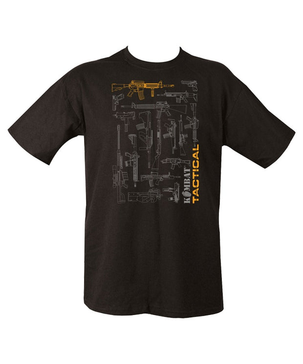 black t-shirt with numerous grey outlines of various guns. top centre gun is orange. kombat tactical written vertically on bottom left