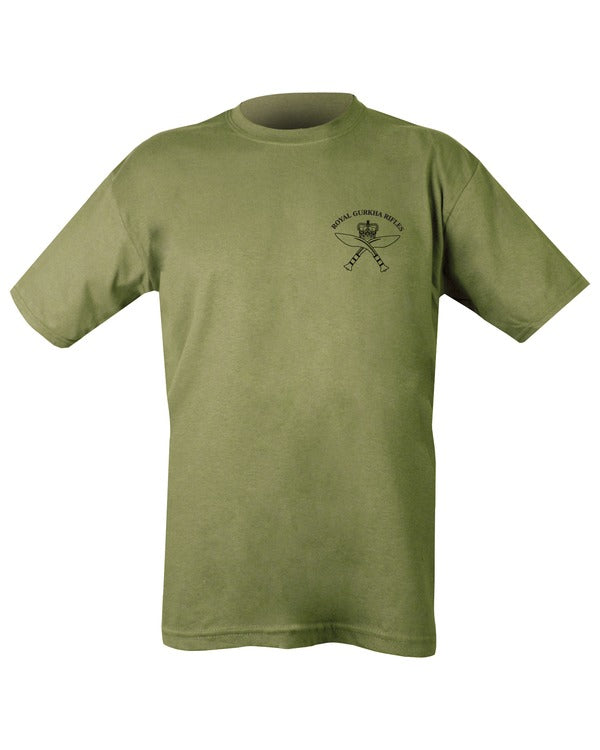 olive t-shirt.front.black print on left chest with royal gurkha rifles logo