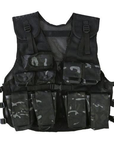 kids tactical assault vest black  camo btp black