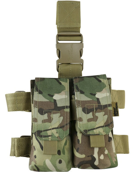 M4 Double mag drop leg-BTP british camo. ammo pouch that side on side of leg
