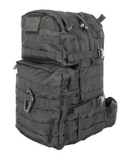 front image of medium sized black  backpack with 2 front compartments. velcro panels are across the top and molle attachments across the bottom one. 2 side compession straps also visible