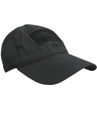 MESH operators cap-Black. baseball cap with breathable mesh back and velcro