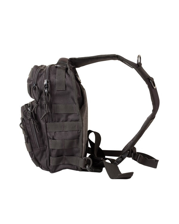 side image. small black bag with one centrally placed strap. shows side molle attachments