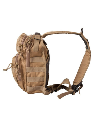 side image. small coyote brown bag with one centrally placed strap. shows side molle attachments