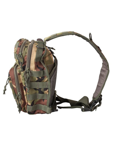 side image. small camo bag with one centrally placed strap. shows side molle attachments