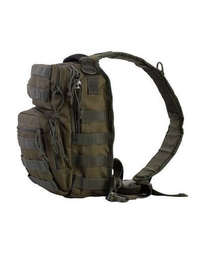 side image. small olive green bag with one centrally placed strap. shows side molle attachments
