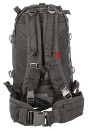 shows 2 shoulder straps, mesh airflow back system and waist strap