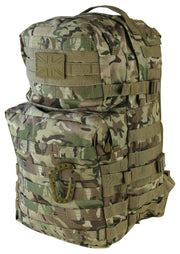 front image of medium sized british camo  backpack with 2 front compartments. velcro panels are across the top and molle attachments across the bottom one. 2 side compession straps also visible