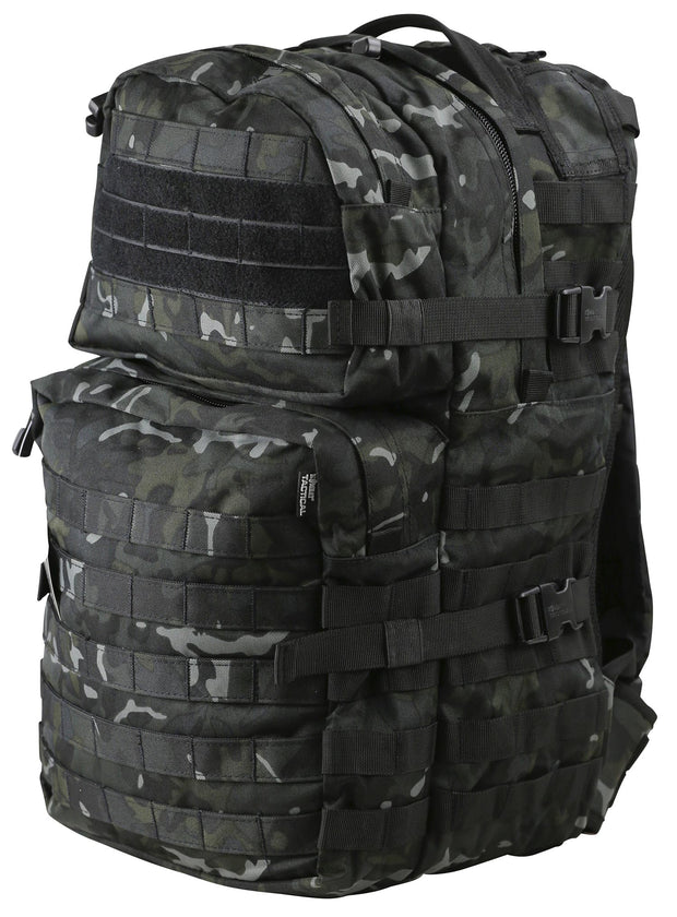 front image of medium sized black camo backpack with 2 front compartments. velcro panels are across the top and molle attachments across the bottom one. 2 side compession straps also visible