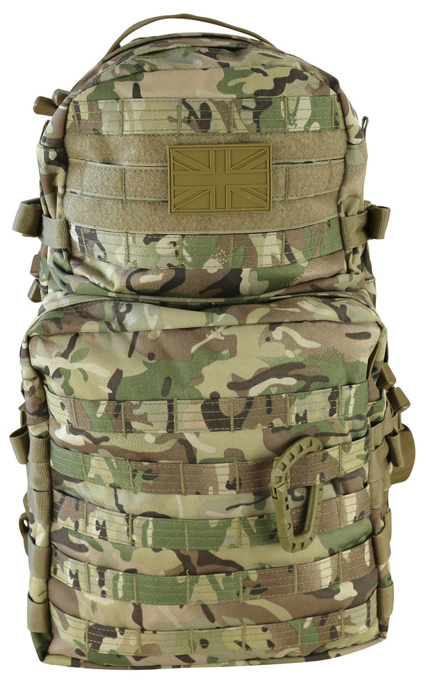 front 2 compartments with uk pvc patch mounted on velcro and tactical caribiner on molle attachments