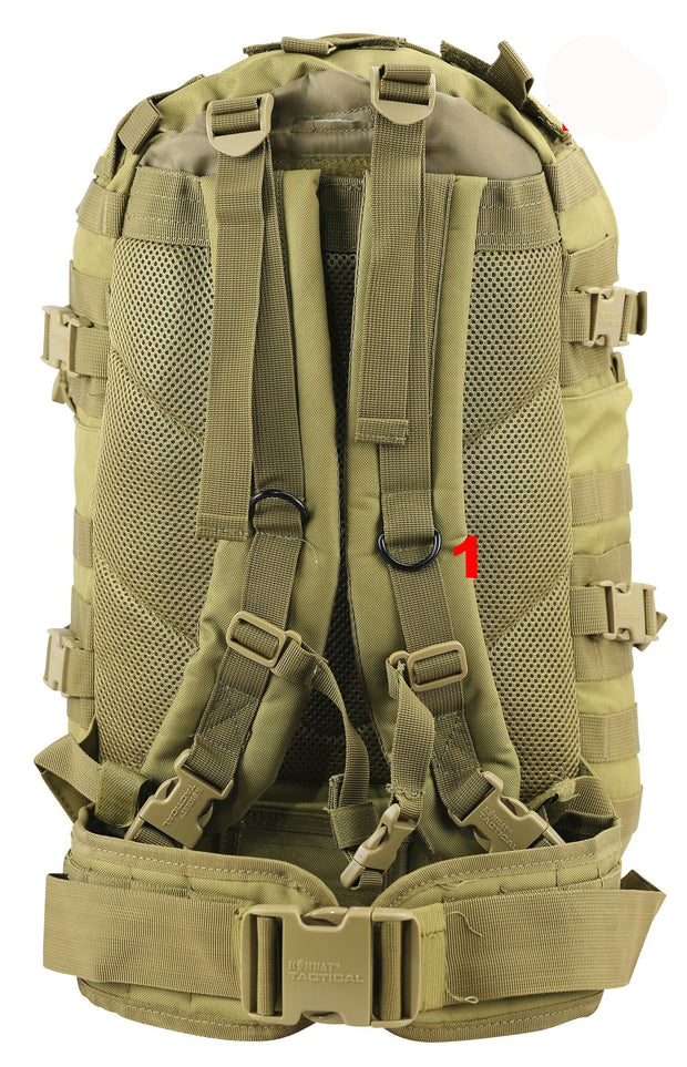 shows 2 shoulder straps mesh airflow back panels waist strap