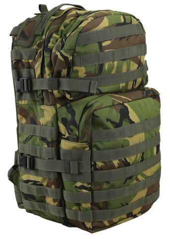 front image of medium sized britishdpm camo  backpack with 2 front compartments.  molle attachments across the bottom one. 2 side compession straps also visible