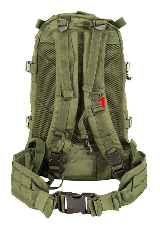 shows 2 shoulder straps, waist strap and airflow back system
