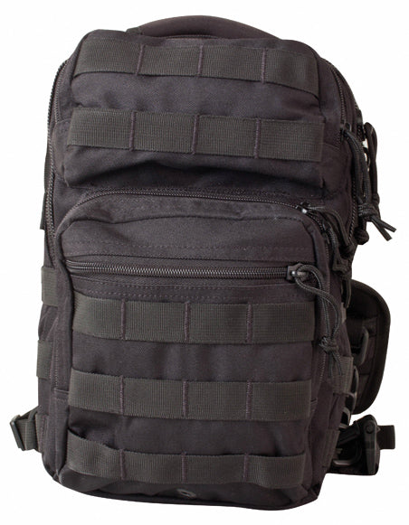 front image shows main with front opening zip compartment and smaller one above. shows molle attachments