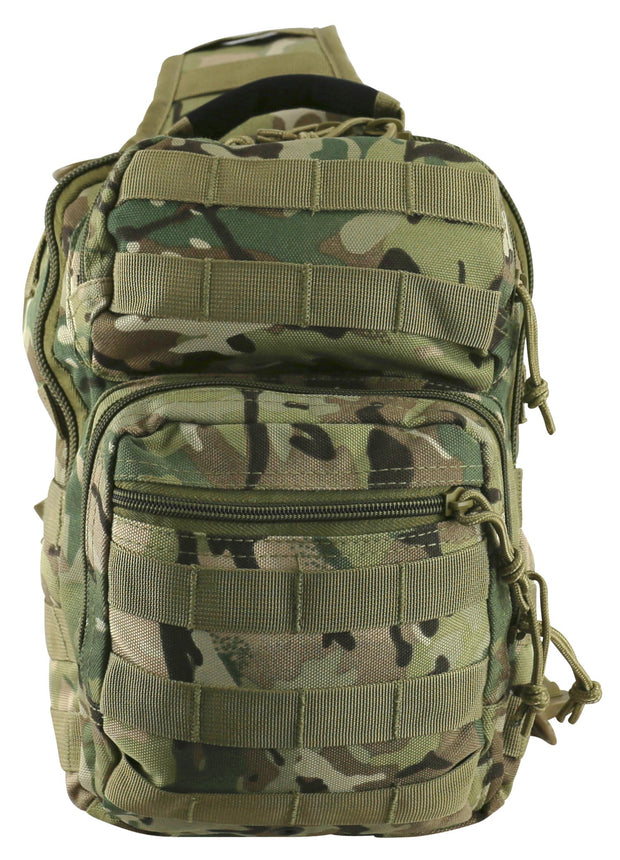 front image shows btp camo bag main compartment with front opening zip compartment and smaller one above. shows molle attachments
