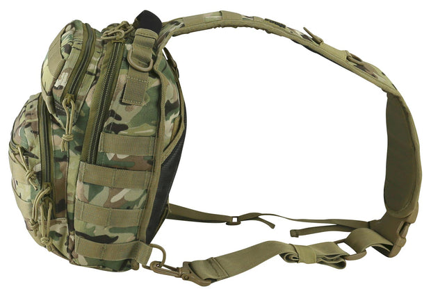 british camo bag side image. small black bag with on centrally placed strap. shows side molle attachments