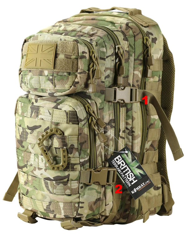 british btp camo back backpack with side compression straps and uk velcro patch on top compartment and tactical carabiner fastened to molle attachments