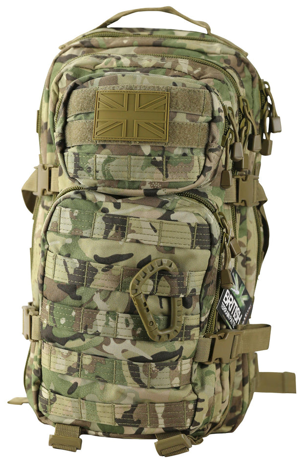 army tactical bag in btp/mtp camo. 2 main compartments. 2 front compartments,smaller on top. 2 side compression straps and carry handle on top. all compartments with paracord zip pullers. horizontal molle straps on front of bag and side to attach molle pouches